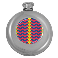 Lllustration Geometric Red Blue Yellow Chevron Wave Line Round Hip Flask (5 Oz) by Mariart