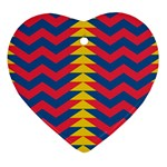 Lllustration Geometric Red Blue Yellow Chevron Wave Line Heart Ornament (Two Sides) Front