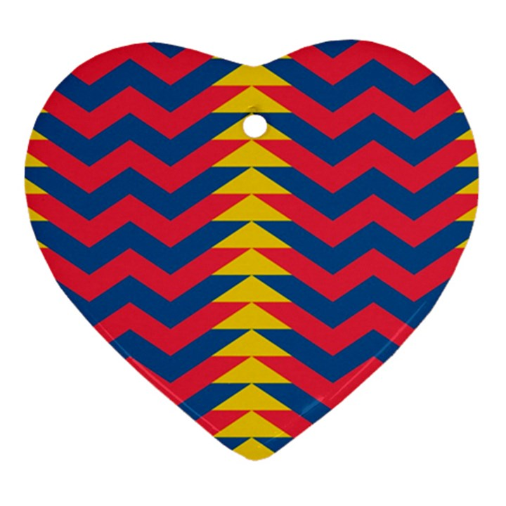 Lllustration Geometric Red Blue Yellow Chevron Wave Line Heart Ornament (Two Sides)