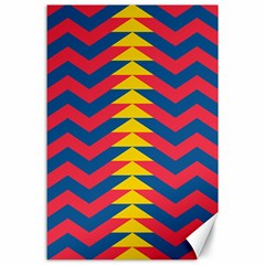 Lllustration Geometric Red Blue Yellow Chevron Wave Line Canvas 24  X 36  by Mariart