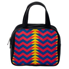 Lllustration Geometric Red Blue Yellow Chevron Wave Line Classic Handbags (one Side) by Mariart