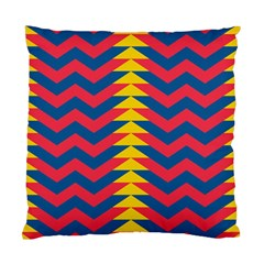 Lllustration Geometric Red Blue Yellow Chevron Wave Line Standard Cushion Case (one Side) by Mariart