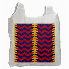 Lllustration Geometric Red Blue Yellow Chevron Wave Line Recycle Bag (one Side) by Mariart