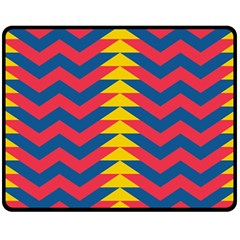 Lllustration Geometric Red Blue Yellow Chevron Wave Line Fleece Blanket (medium)  by Mariart