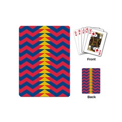 Lllustration Geometric Red Blue Yellow Chevron Wave Line Playing Cards (mini)  by Mariart