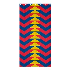 Lllustration Geometric Red Blue Yellow Chevron Wave Line Shower Curtain 36  X 72  (stall)  by Mariart