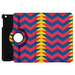 Lllustration Geometric Red Blue Yellow Chevron Wave Line Apple Ipad Mini Flip 360 Case by Mariart