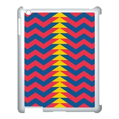 Lllustration Geometric Red Blue Yellow Chevron Wave Line Apple Ipad 3/4 Case (white) by Mariart