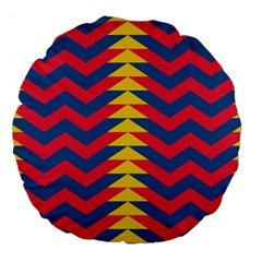 Lllustration Geometric Red Blue Yellow Chevron Wave Line Large 18  Premium Round Cushions by Mariart