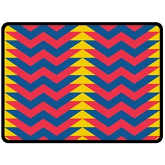 Lllustration Geometric Red Blue Yellow Chevron Wave Line Double Sided Fleece Blanket (large)