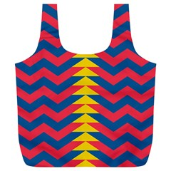 Lllustration Geometric Red Blue Yellow Chevron Wave Line Full Print Recycle Bags (l)  by Mariart