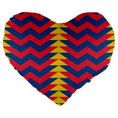 Lllustration Geometric Red Blue Yellow Chevron Wave Line Large 19  Premium Flano Heart Shape Cushions by Mariart