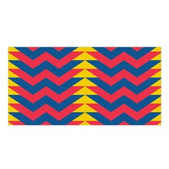 Lllustration Geometric Red Blue Yellow Chevron Wave Line Satin Shawl by Mariart