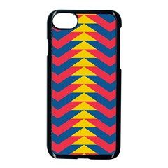 Lllustration Geometric Red Blue Yellow Chevron Wave Line Apple Iphone 7 Seamless Case (black) by Mariart