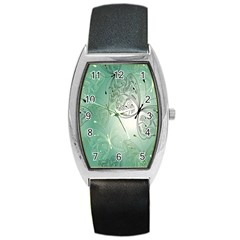 Glass Splashback Abstract Pattern Butterfly Barrel Style Metal Watch by Mariart