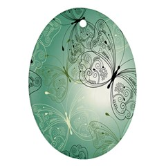 Glass Splashback Abstract Pattern Butterfly Oval Ornament (two Sides) by Mariart