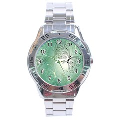 Glass Splashback Abstract Pattern Butterfly Stainless Steel Analogue Watch by Mariart