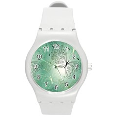 Glass Splashback Abstract Pattern Butterfly Round Plastic Sport Watch (m) by Mariart