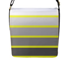 Molly Gender Line Flag Yellow Grey Flap Messenger Bag (l)  by Mariart