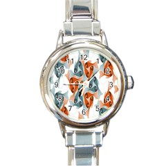 Make Tessellation Fish Tessellation Blue White Round Italian Charm Watch