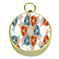 Make Tessellation Fish Tessellation Blue White Gold Compasses by Mariart