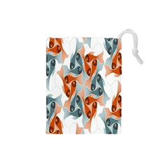 Make Tessellation Fish Tessellation Blue White Drawstring Pouches (small)  by Mariart