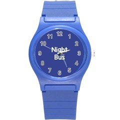 Night Bus New Blue Round Plastic Sport Watch (s) by Mariart