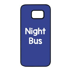 Night Bus New Blue Samsung Galaxy S7 Edge Black Seamless Case by Mariart