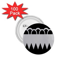 Noir Gender Flags Wave Waves Chevron Circle Black Grey 1 75  Buttons (100 Pack)