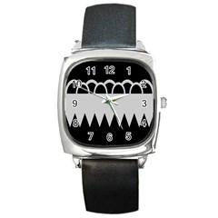 Noir Gender Flags Wave Waves Chevron Circle Black Grey Square Metal Watch by Mariart