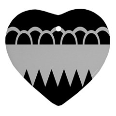 Noir Gender Flags Wave Waves Chevron Circle Black Grey Heart Ornament (two Sides) by Mariart