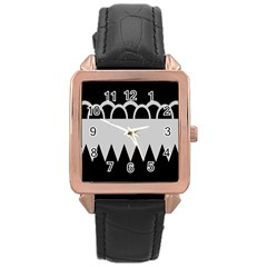 Noir Gender Flags Wave Waves Chevron Circle Black Grey Rose Gold Leather Watch  by Mariart