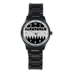 Noir Gender Flags Wave Waves Chevron Circle Black Grey Stainless Steel Round Watch by Mariart