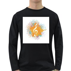 Musical Notes Long Sleeve Dark T Shirts