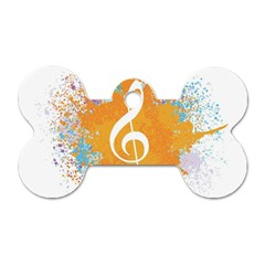 Musical Notes Dog Tag Bone (two Sides) by Mariart
