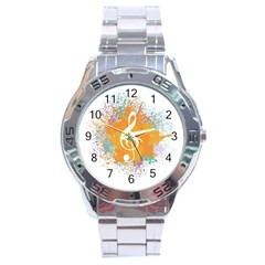 Musical Notes Stainless Steel Analogue Watch by Mariart