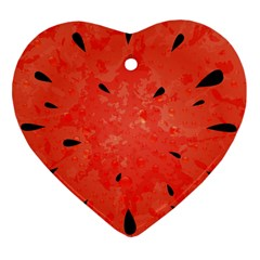 Summer Watermelon Design Heart Ornament (two Sides) by TastefulDesigns