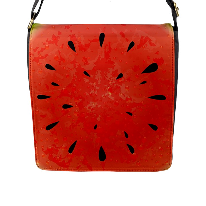 Summer watermelon design Flap Messenger Bag (L)