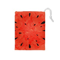 Summer Watermelon Design Drawstring Pouches (medium)  by TastefulDesigns