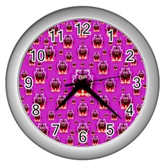 A Cartoon Named Okey Want Friends And Freedom Wall Clocks (silver)  by pepitasart