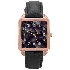 Map Curves Dark Rose Gold Leather Watch  by Mariart