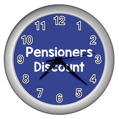 Pensioners Discount Sale Blue Wall Clocks (silver)  by Mariart