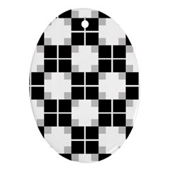 Plaid Black White Ornament (oval) by Mariart