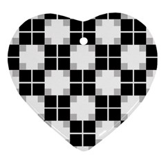 Plaid Black White Ornament (heart)
