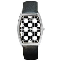 Plaid Black White Barrel Style Metal Watch by Mariart