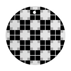 Plaid Black White Round Ornament (two Sides) by Mariart