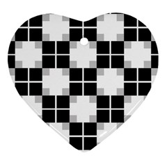 Plaid Black White Heart Ornament (two Sides) by Mariart