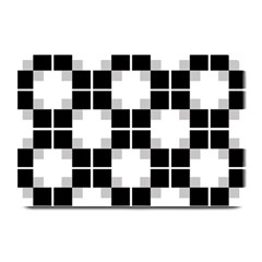 Plaid Black White Plate Mats by Mariart