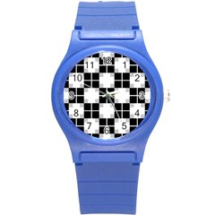 Plaid Black White Round Plastic Sport Watch (s) by Mariart