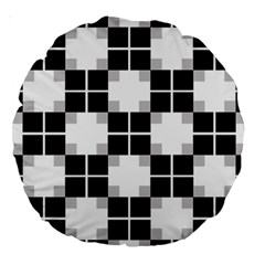 Plaid Black White Large 18  Premium Round Cushions by Mariart